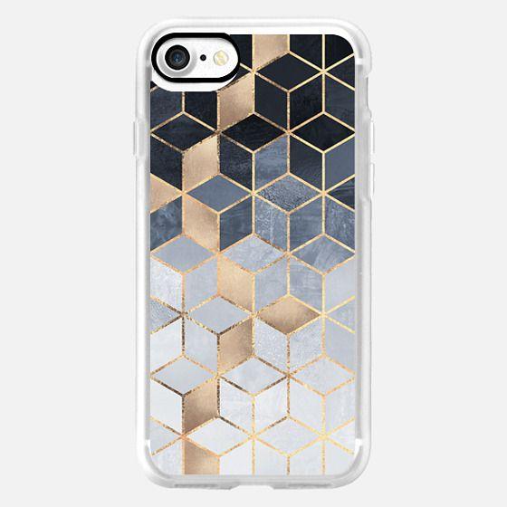 Soft Blue Gradient Cubes -