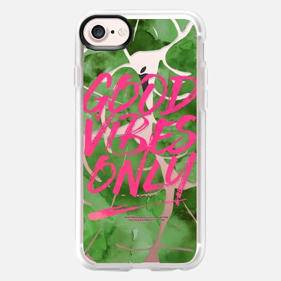 Good Vibes Only // Tropical Watercolor Palms in Pink - Snap Case