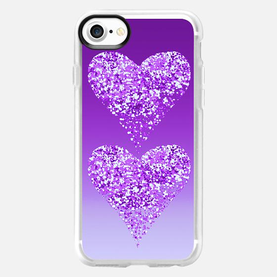 two hearts in purple - Wallet Case