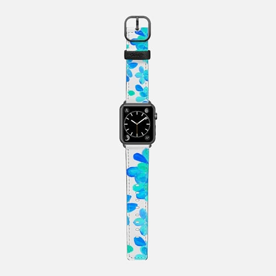blue flowers - Saffiano Leather Watch Band