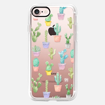 iPhone 7 ケース Watercolour pastel cactus hot summer by imushstore