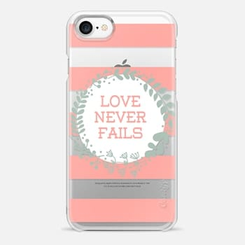 iPhone 7 Case Love Never Fails - Transparent