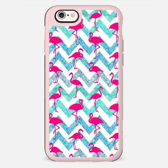 Tropical Pink Neon Flamingos Teal Glitter Chevron - Classic Snap Case