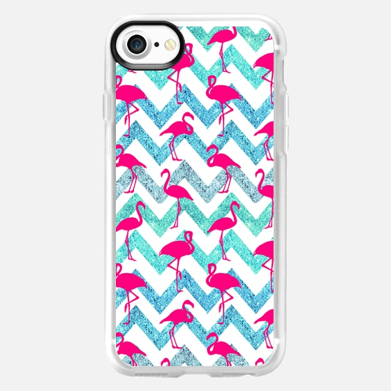 Tropical Pink Neon Flamingos Teal Glitter Chevron - Wallet Case