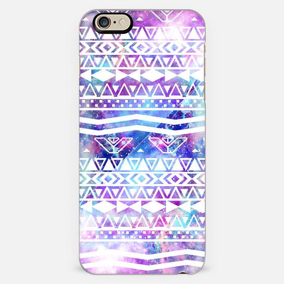 White Aztec Pattern Purple Nebula Galaxy -