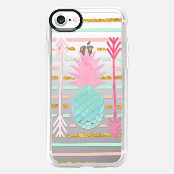 Pineapple pink mint  stripes arrows pattern - Wallet Case
