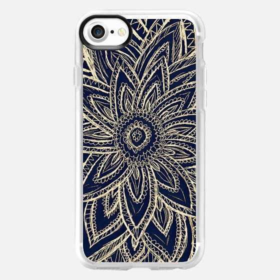 Cute Retro Gold abstract Flower Drawing on Black -