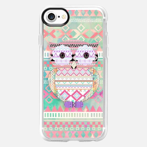 Whimsical Tribal Owl Pastel Girly Tie Dye Aztec -