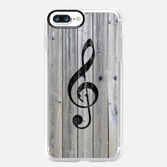 Vintage White Music Note Treble Clef Gray Wood -