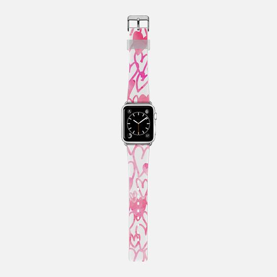 Cute pink love hearts watercolor pattern Apple watch -