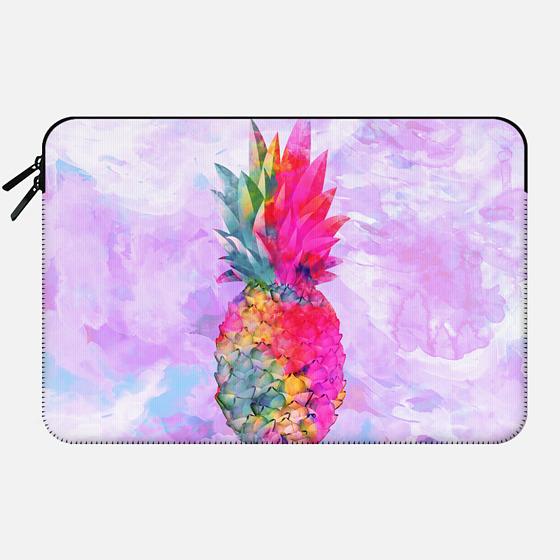 Bright Neon Hawaiian Pinapple Tropical Watercolor by Girly Trend - Macbook Sleeve