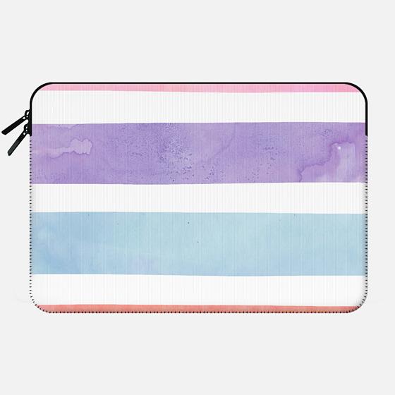 Pastel Watercolor Stripes Summer Pink Orange Teal by Girly Trend - Macbook Sleeve