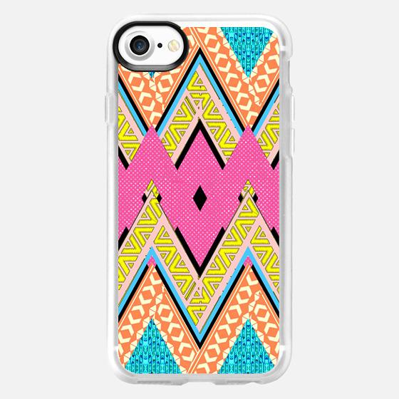 Bright Neon Pink Orange Blue Aztec Chevron Pattern -
