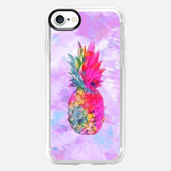 Bright Neon Hawaiian Pinapple Tropical Watercolor -