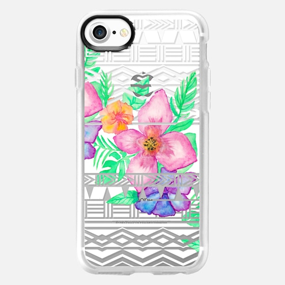Exotic hawaiian floral watercolor transparent aztec by Girly Trend - Wallet Case