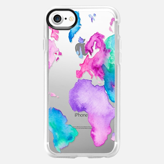 Modern pink purple green travel world map globe bright watercolor paint  by Girly Trend - Wallet Case