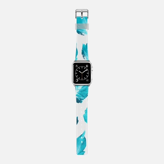 Modern bright teal ombre hand painted leaf feather pattern by Girly Trend -