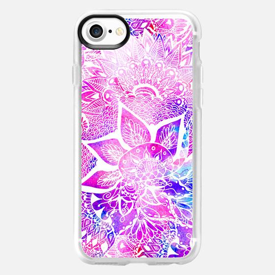 Purple blue henna boho floral mandala pattern by Girly Trend - Wallet Case