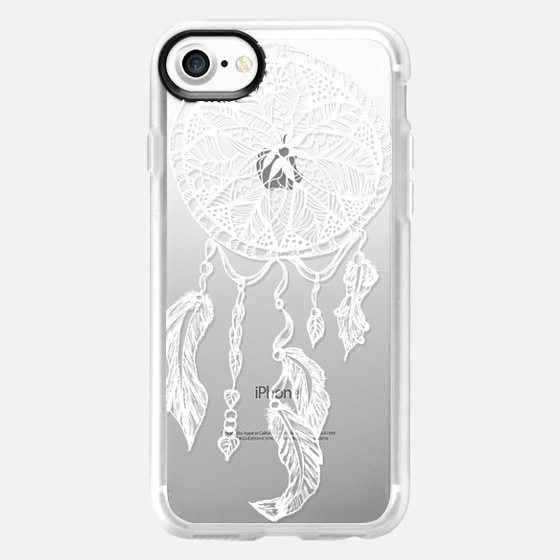 White transparent boho ethnic hand drawn lace dreamcatcher and feathers by Girly Trend - Wallet Case