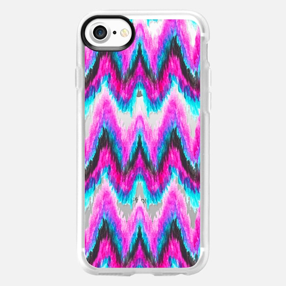 Bright boho teal pink hand painted ikat chevron by Girly Trend transparent - Wallet Case