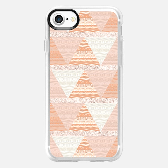 Pastel Coral Brown Abstract Aztec Triangle Pattern -