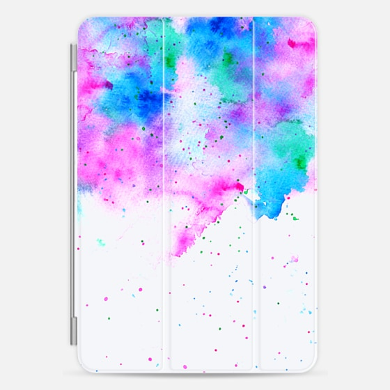 Watercolor  pink blue splatters bright colorful paint by Girly Trend - Photo Cover