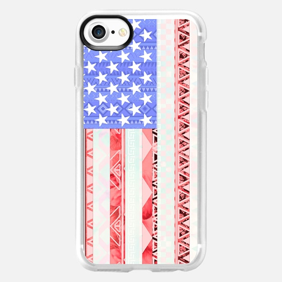 American flag USA Red Blue White Aztec Pattern -