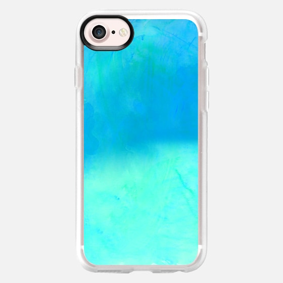 Modern blue turquoise ombre watercolor paint by Girly Trend - Wallet Case
