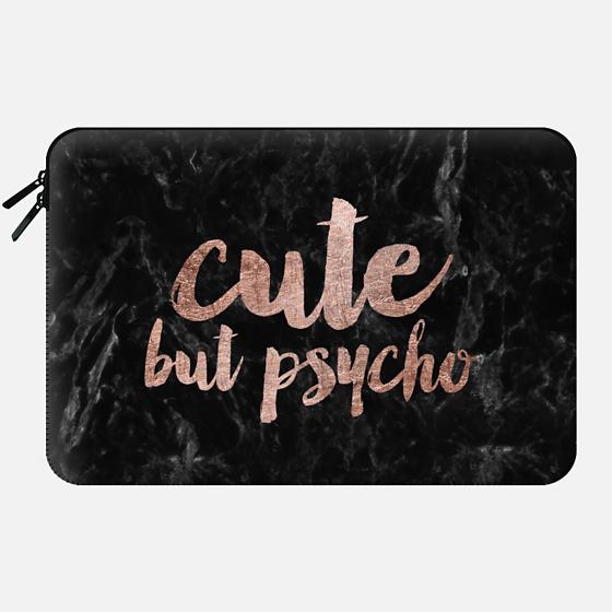 Modern rose gold typography Cute but psycho black marble - Macbook Sleeve