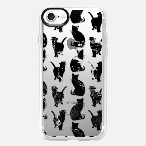 Modern simple black marble cats silhouettes transparent pattern by Girly Trend -