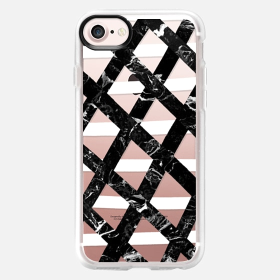 Hand drawn lattice black marble white stripes by Girly Trend - Wallet Case