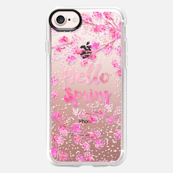 Modern hello spring typography pink watercolor cherry blossom sakura hand painted  by Girly Trend - Wallet Case