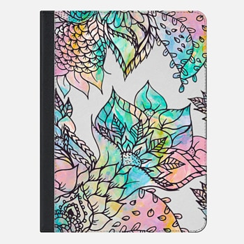 "iPad Pro 9.7"" Case Modern watercolor pastel pink teal peach purple hand drawn floral pattern by Girly Trend"