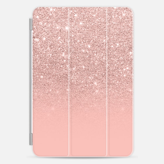 Modern peach pink pastel faux glitter ombre color block by Girly Trend - Photo Cover