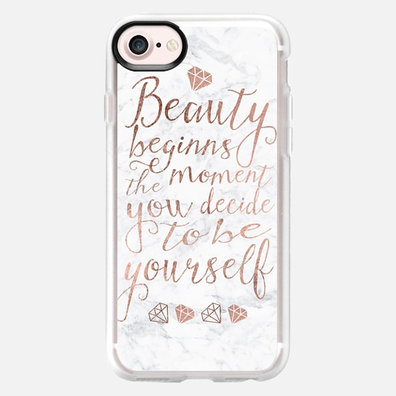 Modern quote beauty typography rose gold white marble  by Girly Trend - Wallet Case