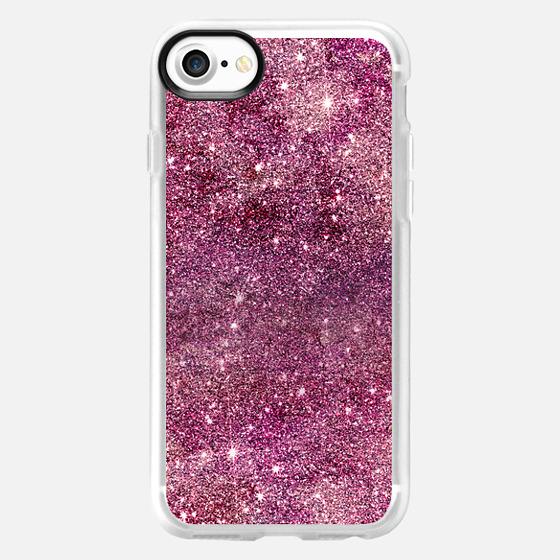 Modern faux purple glitter nebula rose gold by Girly Trend - Wallet Case