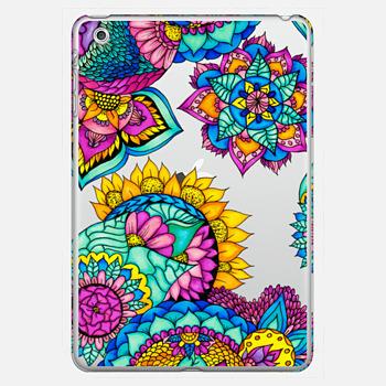 Bright boho handdrawn floral bright watercolor mandala illustration by Girly Trend