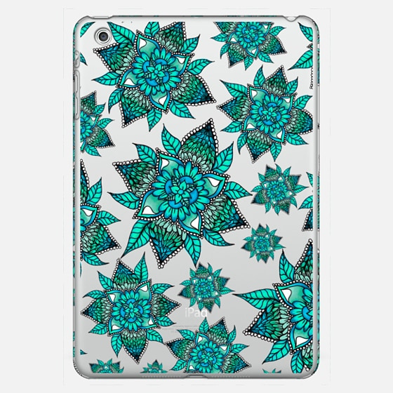 Teal ombre watercolor floral mandala pattern small big semi transparent by Girly Trend - Classic Snap Case