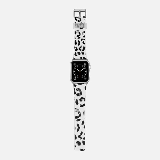 Modern elegant black marble leopard print pattern hand drawn by Girly Trend -