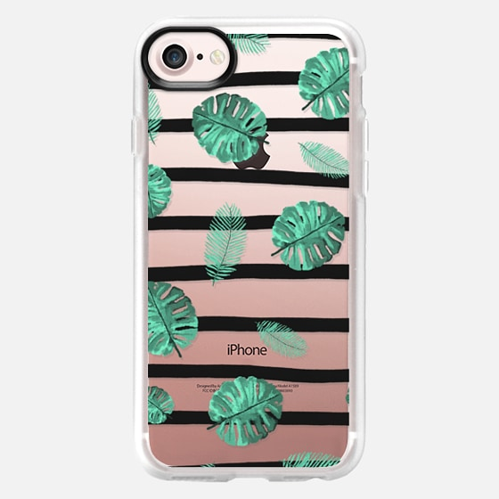 Modern green watercolor hand painted tropical exotic leaf pattern black watercolor stripes by Girly - Wallet Case