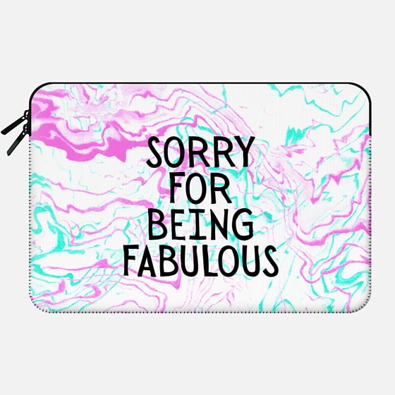 Modern girly fabulous quote typography  pink teal watercolor marble by Girly Trend - Macbook Sleeve
