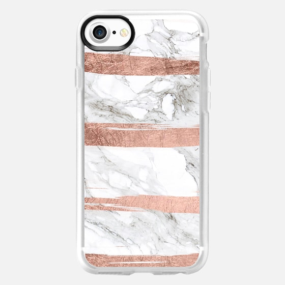 Modern rose gold brushstrokes stripes pattern chic white marble by Girly Trend -
