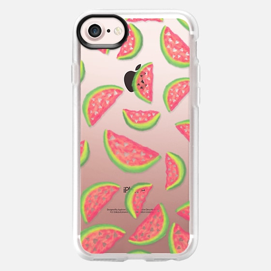 Summer hand painted pink green watercolor watermelons fruits and hearts pattern illustration by Girly Trend - Wallet Case