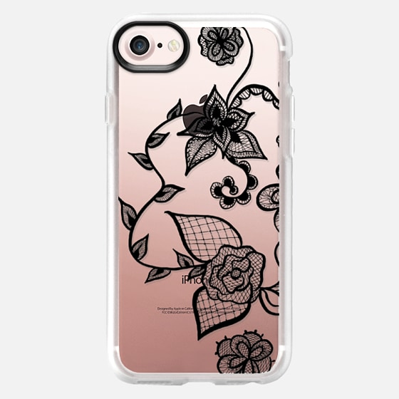 Girly simple modern black hand drawn elegant floral lace illustration by Girly Trend - Wallet Case