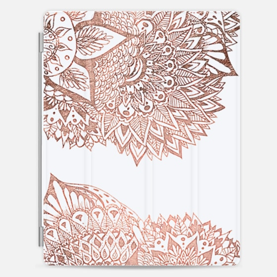 Modern faux rose gold floral mandala illustration by Girly Trend - Photo Cover