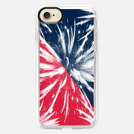 Modern 4th july red blue color block fireworks by Girly Trend - Wallet Case