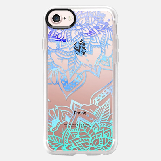 Modern handdrawn sea blue watercolor mandala illustration by Girly Trend - Classic Grip Case