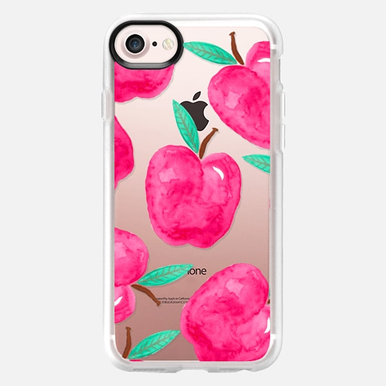 Pink turquoise watercolor hand painted apple back to school by Girly Trend - Wallet Case