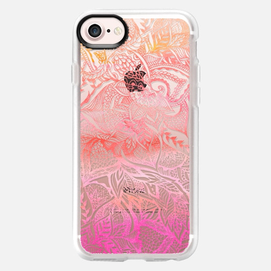 Floral hand drawn mandala sunset orange pink watercolor by Girly Trend - Wallet Case