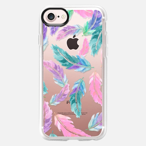 Pastel pink turquoise watercolor feathers pattern semi transparent by Girly Trend - Wallet Case